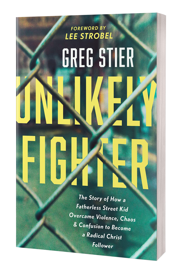 Unlikely Fighter by Greg Siter. An image of Christian Author Greg Stier's new christian book entitled Unlikely Fighter.